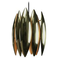 1969 Brass Ceiling Pendant Kastor by Jo Hammerborg