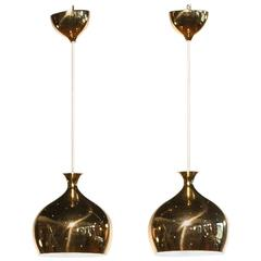 1960s, Pair of golden Perforated 'Onions' Pendants by Helge Zimdal