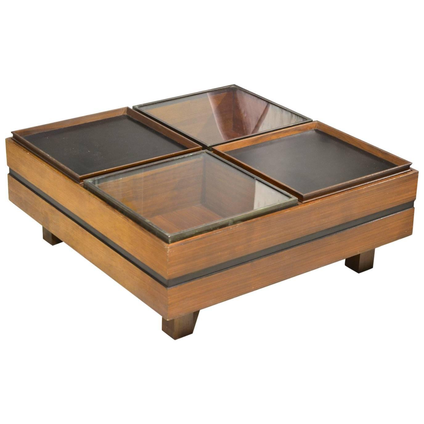 Fantastic Square Wood And Glass Italian Cocktail Table Circa 1960 At 1stdibs