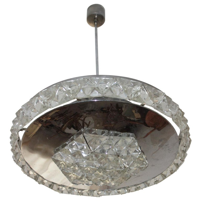 Bakalowits Vienna Faceted Crystal Chandelier, 1950s
