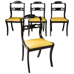Set of Four Anglo-Indian Ebonized Dining Chairs