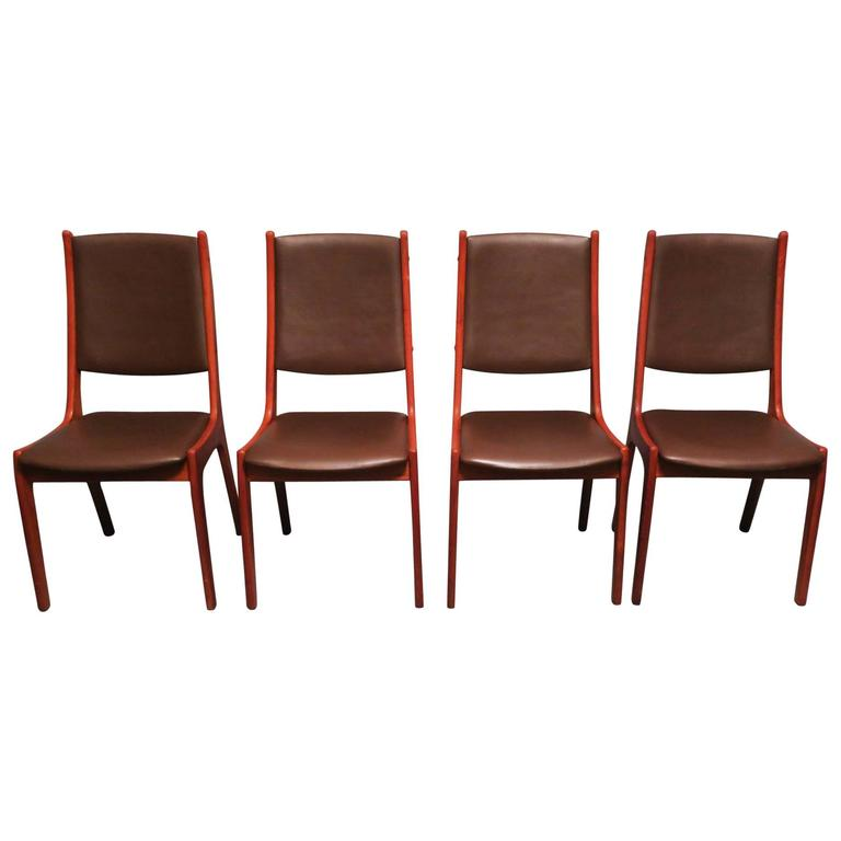Four Danish Teak and Leather Dining Chairs Kai Kristiansen