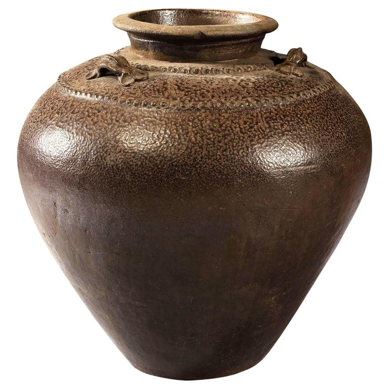 Brown Glaze Rustic Chinese Storage Jar  For Sale