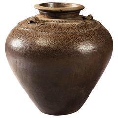 Brown Glaze Rustic Chinese Storage Jar