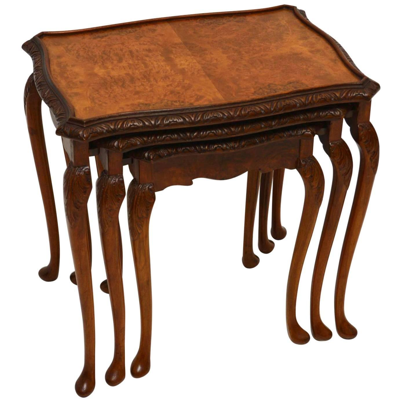 Antique Queen Anne Style Burr Walnut Nest of Tables at 1stdibs