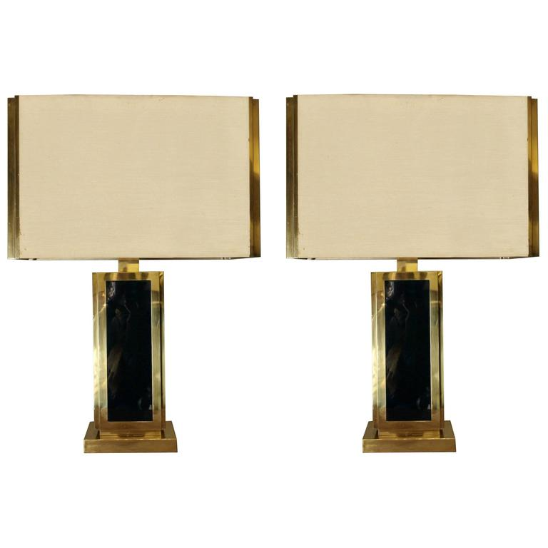 Late 20th Century Pair Of Brass And Green Glass Table Lamps W Shades