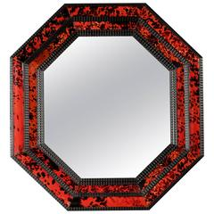 Dutch Red Tortoiseshell Octagonal Mirror, 17th Century Style