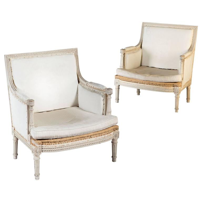 Pair of Neoclassical Off-White Painted Marquise Armchairs Bergeres