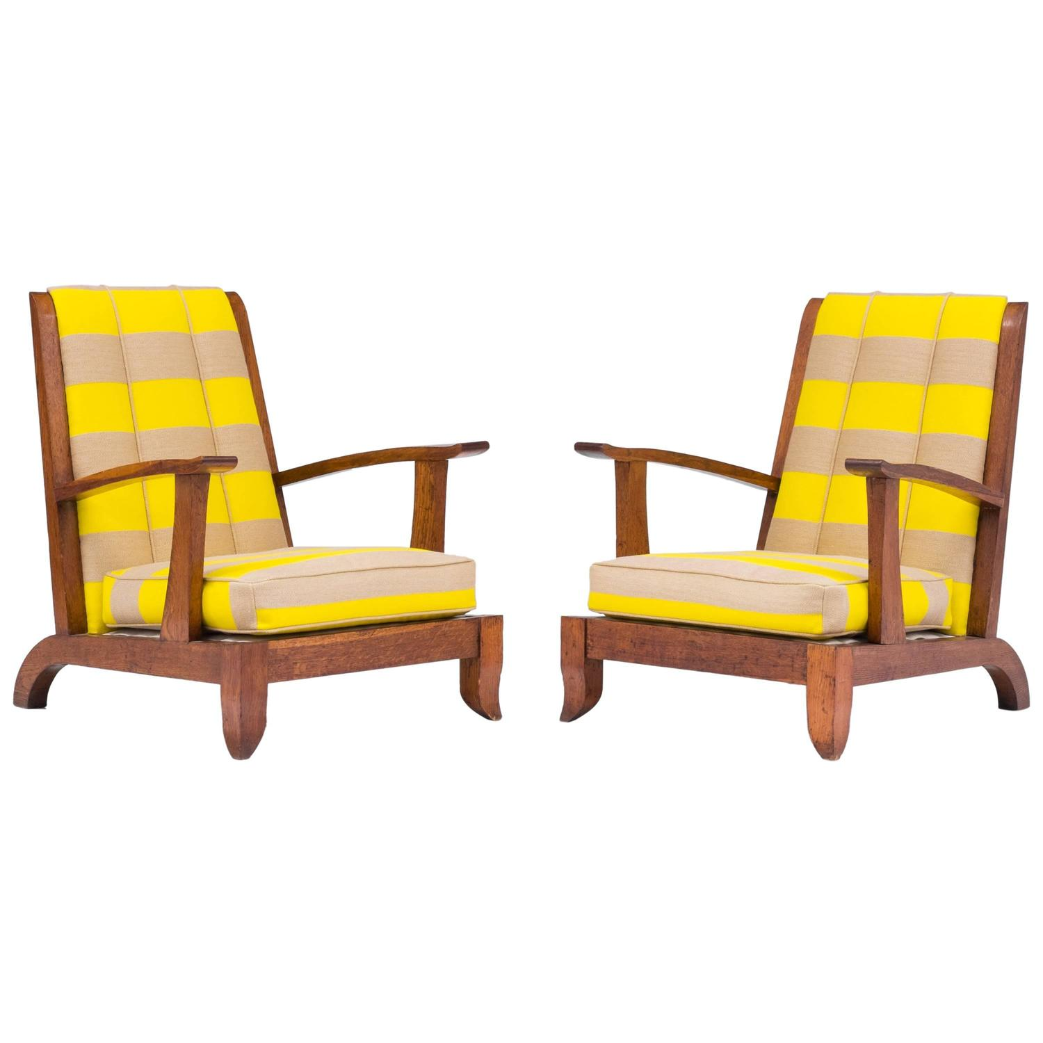 Pair Of Important French Art Deco Fauteuils In Oak Raf