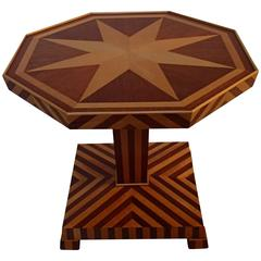 1920 Small All-Over Inlay Octagonal Table Mahogany and Birch