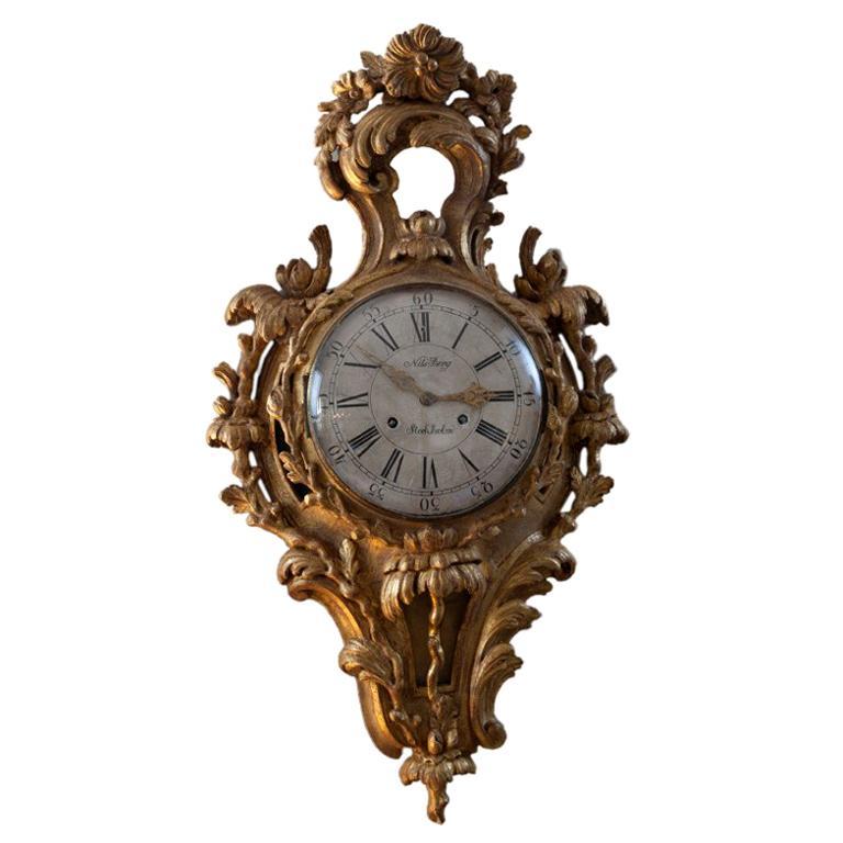 Swedish Rocaille Giltwood Wall Clock