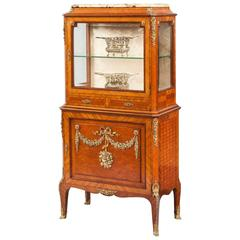 French Kingwood Parquetry and Floral Ormolu-Mounted Cabinet, 19th Century