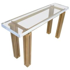 Perspex and Lacquered Brass Console, France, circa 1970