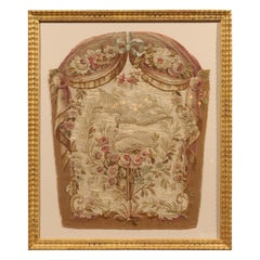 Giltwood Framed 19th Century French Tapestry Fragment with Kissing Doves
