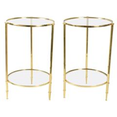 Pair of Round Gilt Brass Side Tables from 1970