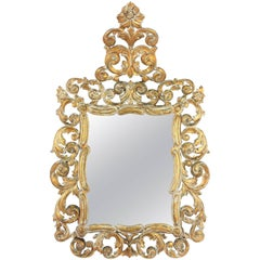 Spanish 19th Century Rococo Style White Patinated Giltwood Mirror