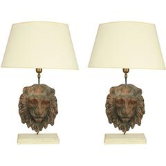 Pair of 18th Century Terracotta Lion's Head Table Lamps