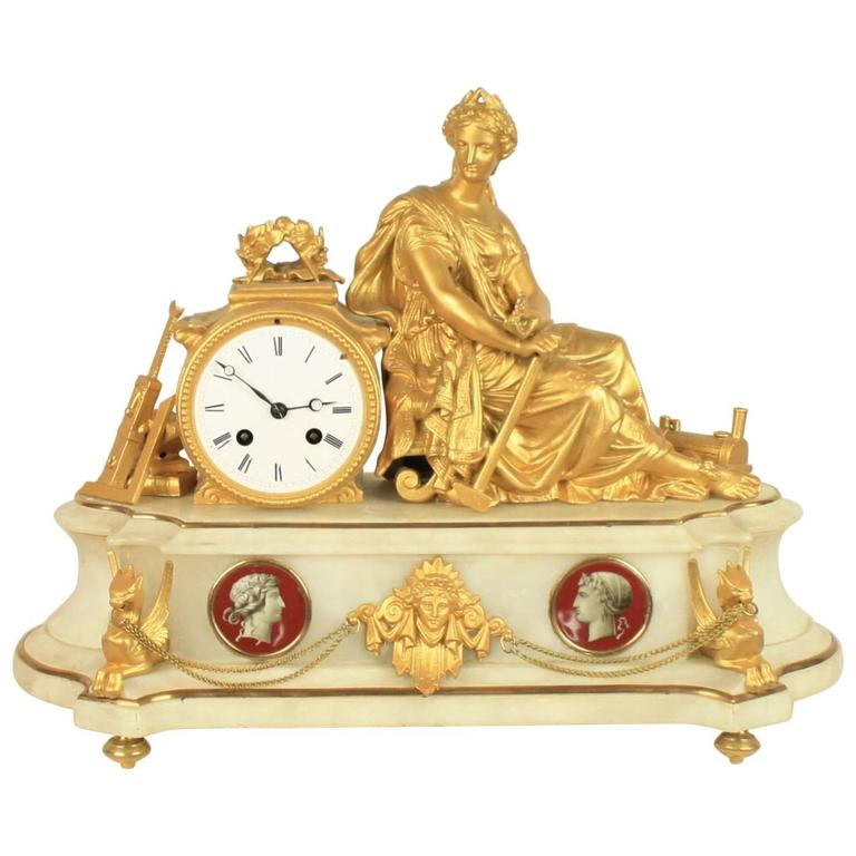 French 19th Century Alabaster Mantle Clock For Sale At 1stdibs