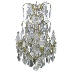 French 19th Century Louis XV Style Crystal and Gilded Bronze Cage Chandelier