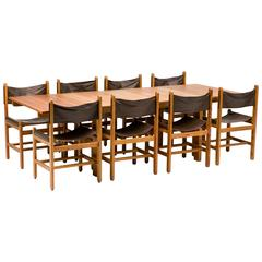 Erik Wørts Pine and Leather Dining Set