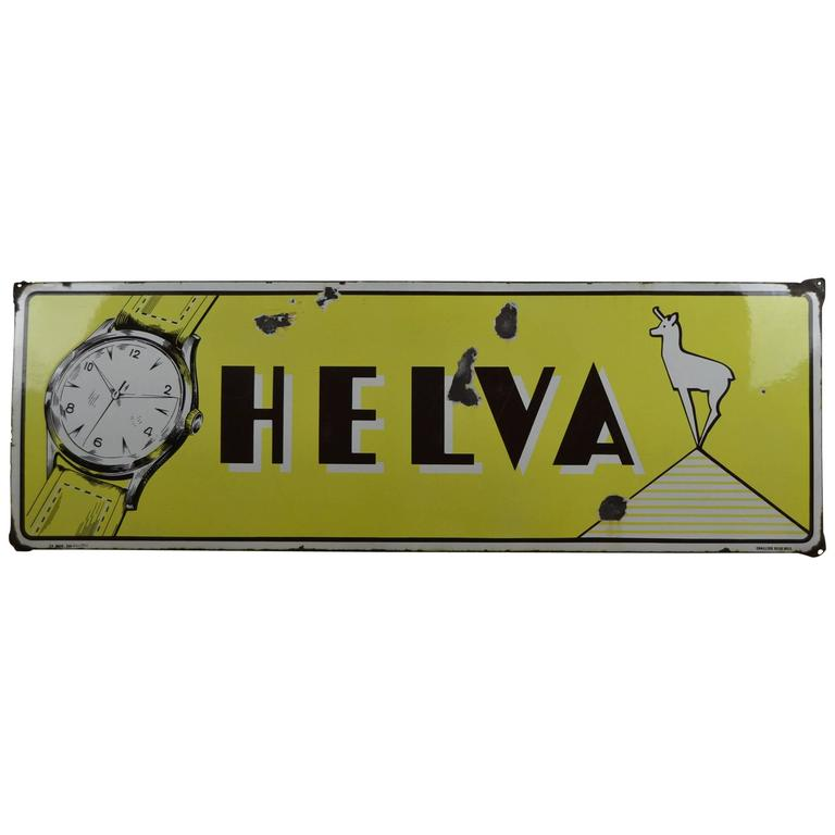 Vintage Enamel Sign Helva Watches Switzerland