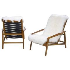Pair of Reclining Italian Open Armchairs