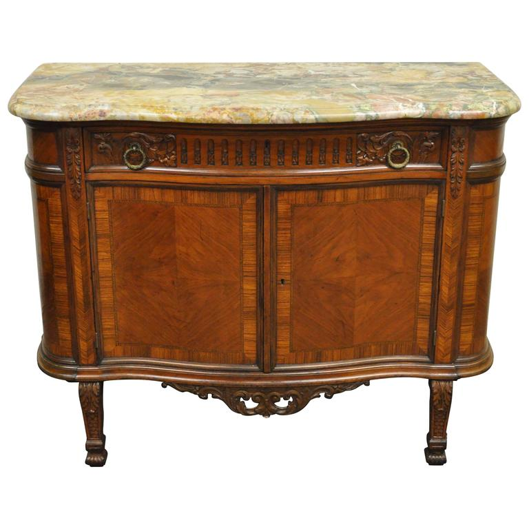 Antique French Renaissance Carved Walnut Marble-Top Demilune ...