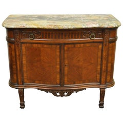 French Louis XV XVI Carved Walnut Marble Top Demilune Console Server Buffet