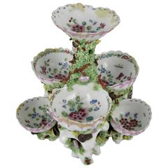 18th Century Bow Porcelain Coral & Shell Encrusted Tiered Sweetmeat Centerpiece