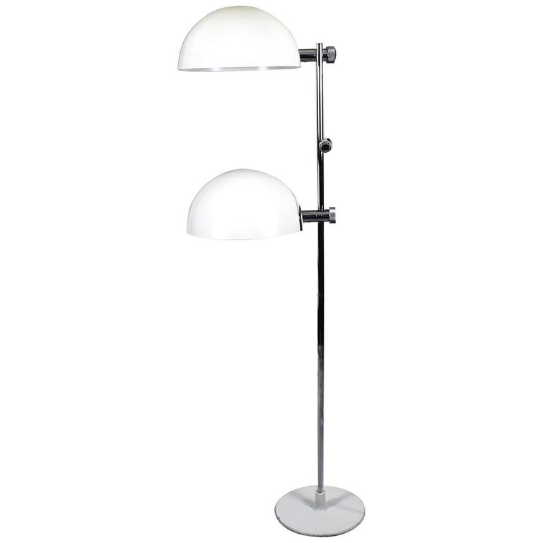 1970´s System Standing Lamp, white lacquered metal, chrome-plated metal - Italy