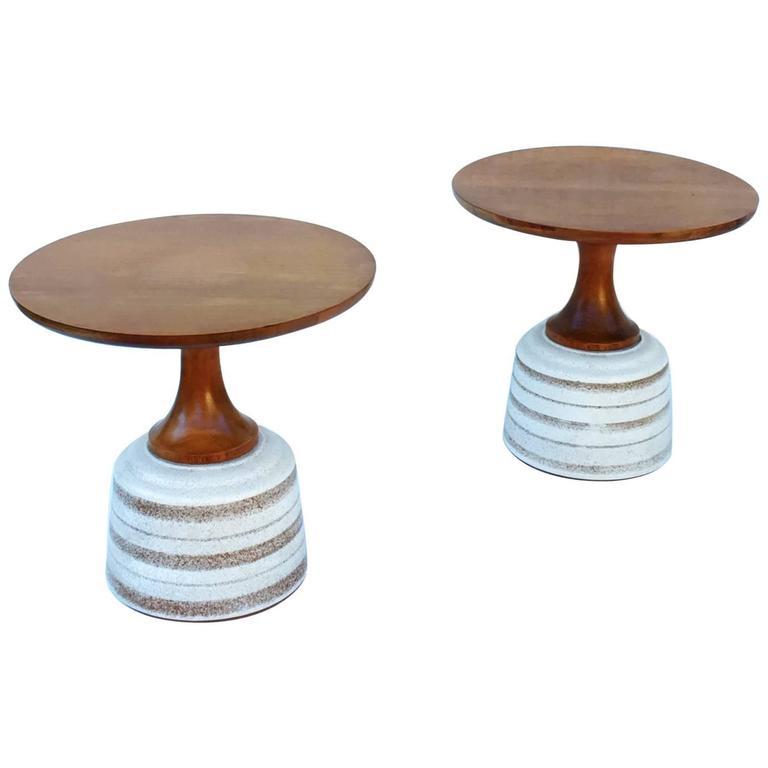 Pair Of Ceramic And Walnut Side Tables By John Van Koert For Drexel 1