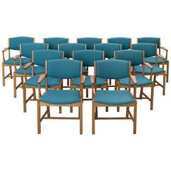 Set of 14 Danish Armchairs in Oak and Blue Fabric Upholstery