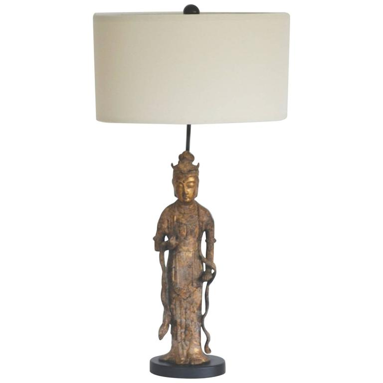 Hollywood Regency Gilt Metal Figural Form Table Lamp