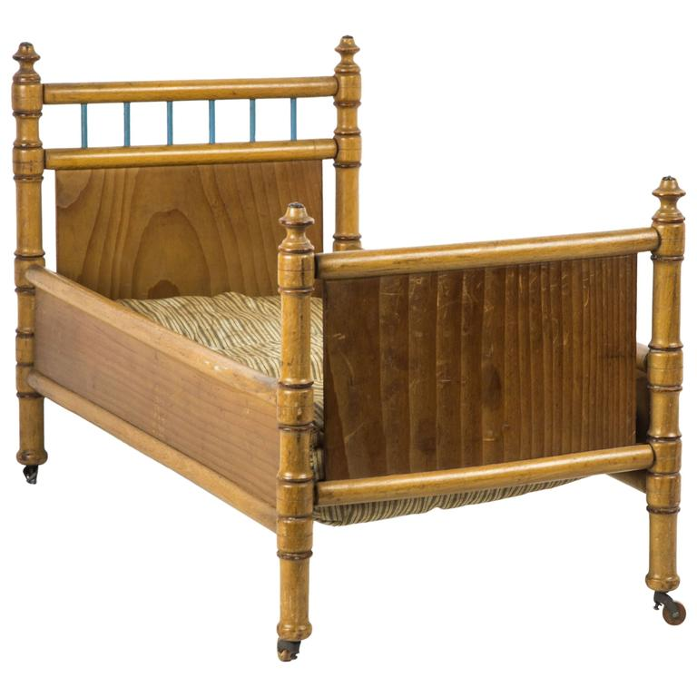 Miniature Pine and Maple Doll's Bed Furniture, France