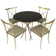 Classic Modern 1950s Brass and Leather Dining Set