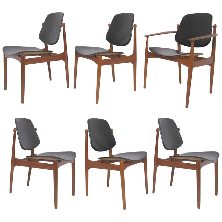 Danish Dining Chair set of six arne vodder teak and leather danish dining chairs