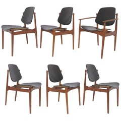 Set of Six Arne Vodder Teak & Leather Danish Dining Chairs, France & Daverkosen