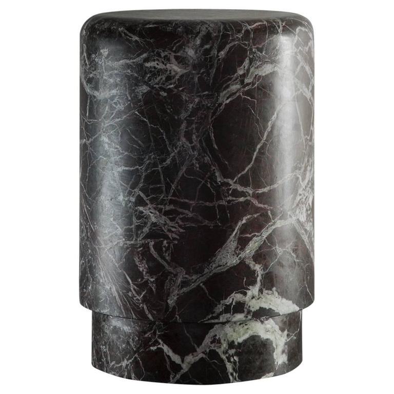 Pouf/Small Table in dark bordeaux Marble from Michaël Verheyden 1