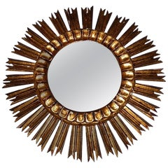 French Giltwood Starburst Sunburst Mirror, circa 1940