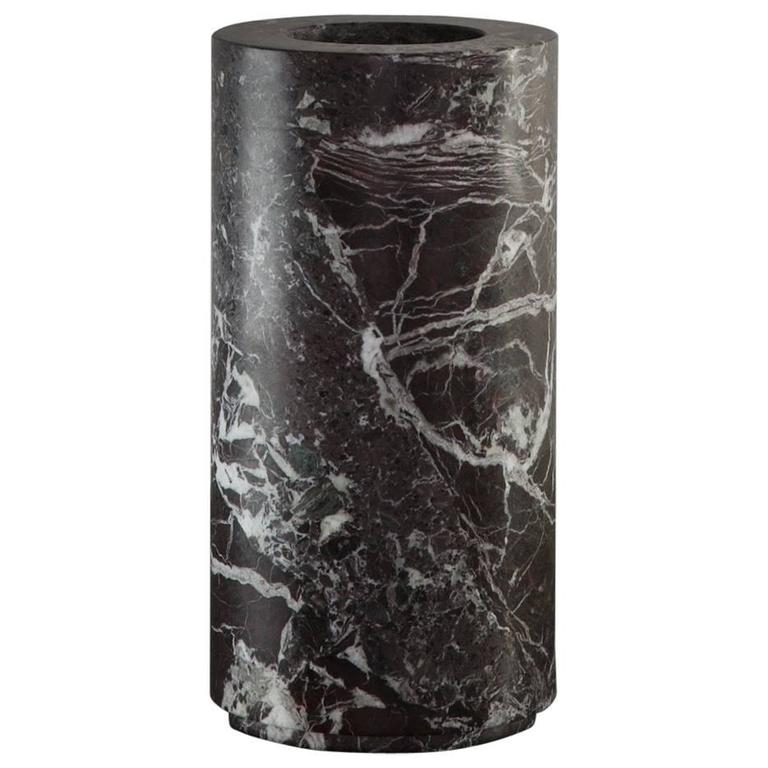 Large Cylindrical Shaped Vase in dark bordeaux marble from Michaël Verheyden 1