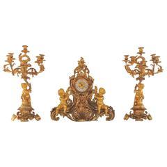 Wonderful Large French Cherub Putti, Gilt Dore Bronze Rococo Clock Set