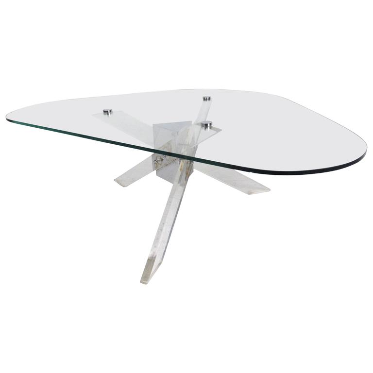 Mid-Century Modern Lucite And Chrome Coffee Table For Sale