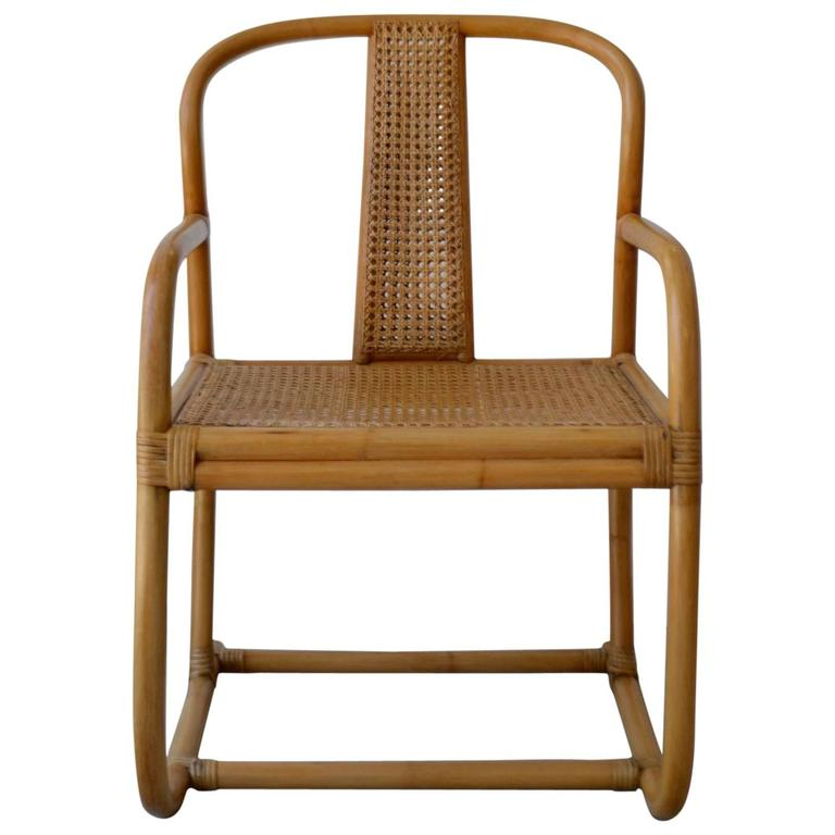 Mid Century Bent Bamboo Occasional Chair For Sale