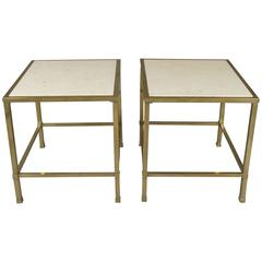 Pair of Vintage 1950s Brass and Travertine Tables
