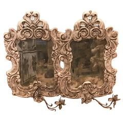 French Iron Sconces with Mirror Inset