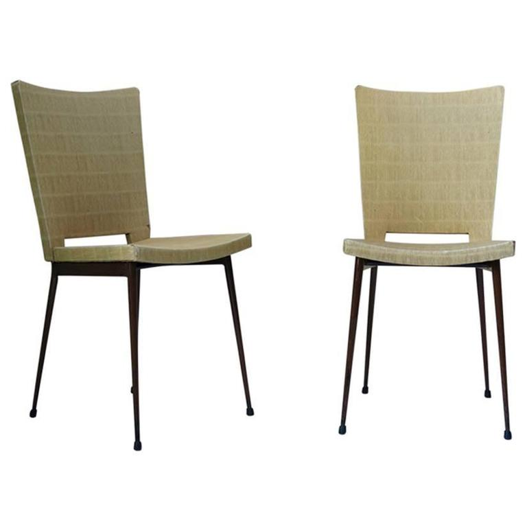 Set of Four Faux-Rush Dining Chairs Attributed to Colette Gueden, France, 1950s