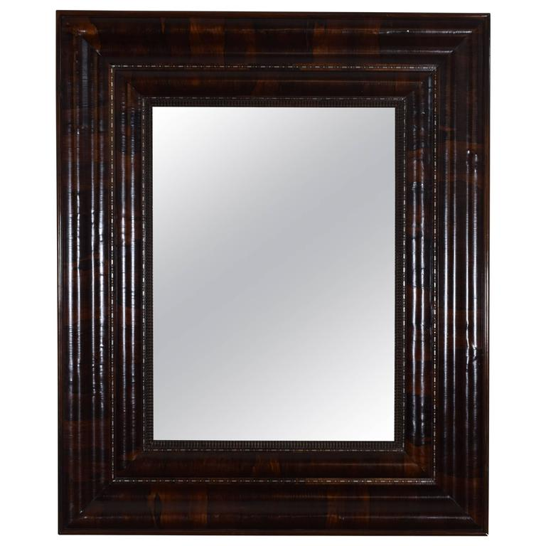 Large Spanish Baroque Revival Rosewood and Metal Inlaid Mirror, Mid-19th Century