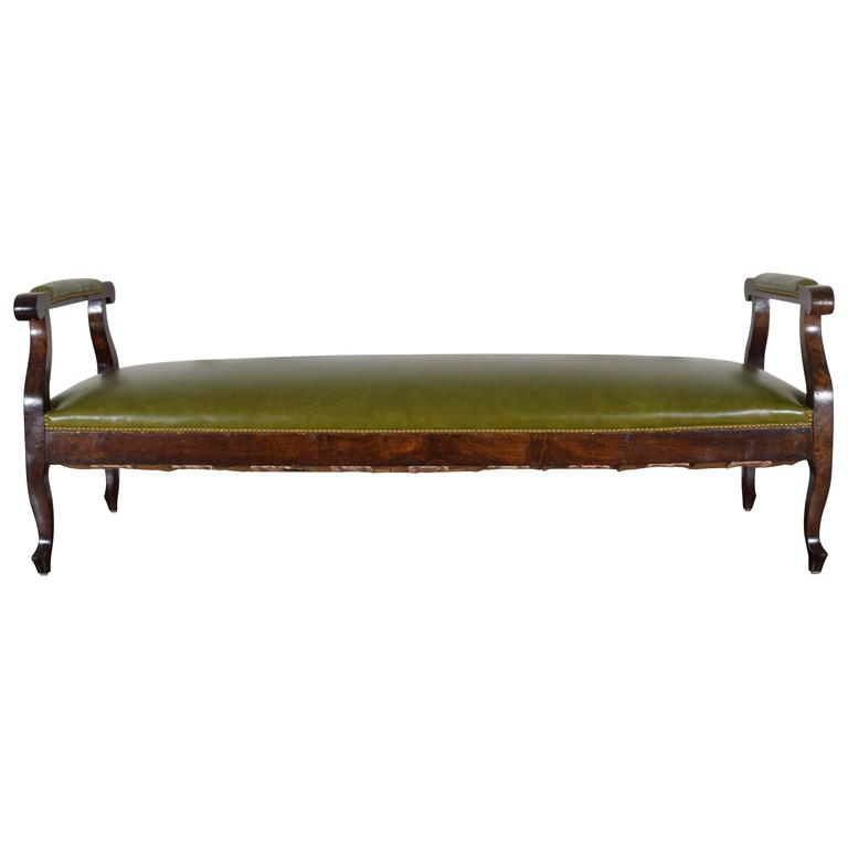 French Late Neoclassic Walnut and Leather Upholstered Lit De Repos, circa 1835