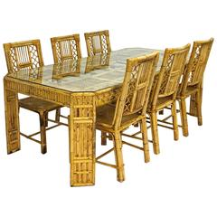 Mid-Century Bamboo and Rattan Dining Table and Six Chairs at 1stdibs