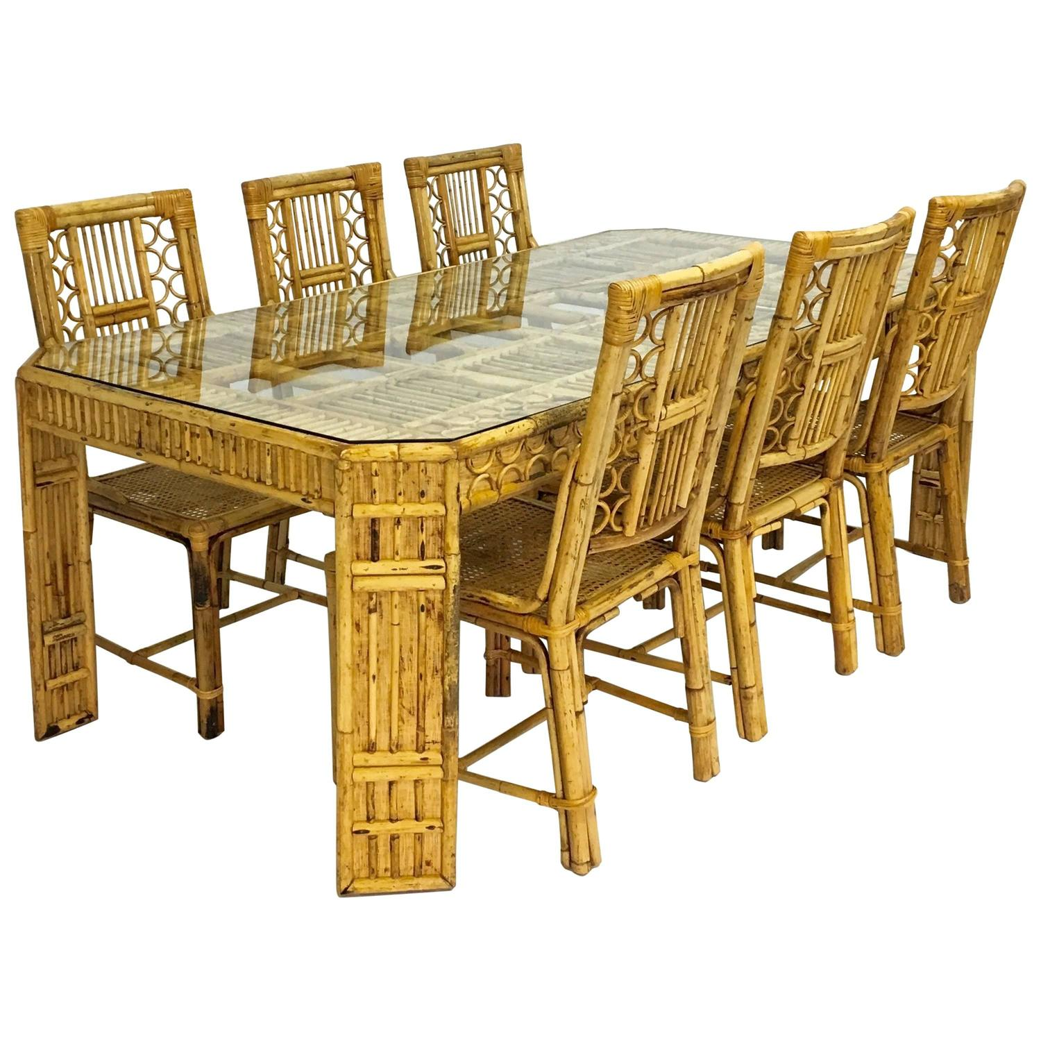 Mid century bamboo and rattan dining table and six chairs for Six chair dining table set